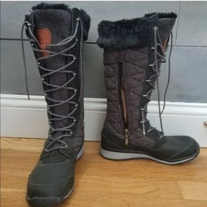 Tall Grey and Black Salomon Winter Boots size 6.5